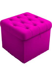 Puff Baú Porta Objetos Capitonê 48 Cm Suede 389 Lyam Decor Pink