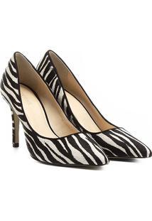 Scarpin Couro Shoestock Salto Alto Pelo - Feminino-Zebra
