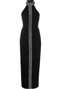 Balmain Vestido Frente Única Com Aplicação De Strass - Preto
