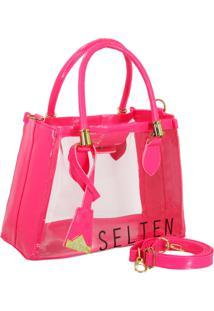 Bolsa Transparente Neon Pink Selten - Rosa - Feminino - Dafiti