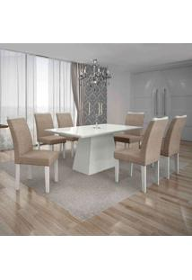 Conjunto De Mesa Com 6 Cadeiras Pampulha Ii Linho Branco E Bege