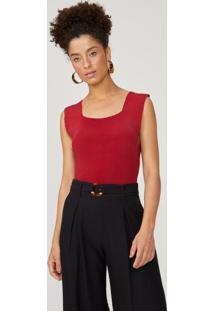 Body Amaro Tricot Decote Quadrado Vermelho - Vermelho - Feminino - Dafiti