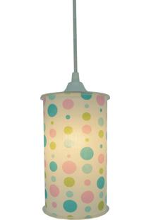 Luminária Pendente Cilíndrica Crie Casa Poás Verde Rosa E Azul