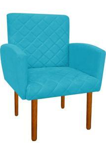Poltrona Decorativa Veronês Para Sala Azul Tiffany D'Rossi