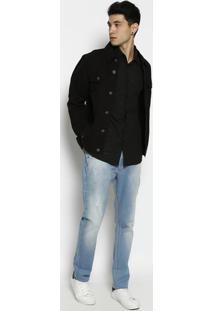 Camisa Super Slim Fit Em Flamãª- Preta- Forumforum