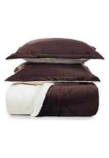 Edredom De Microfibra Casal Karsten Com Porta Travesseiro Sonata Chocolate