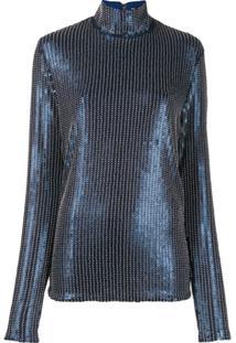 Palomo Spain Blusa Com Aplicação De Paetês - Azul