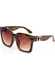 Óculos De Sol Clos Quadrado Animal Print Marrom - Kanui