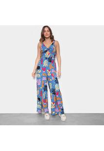 Macacão Longo Mercatto Com Fendas Estampado Feminino - Feminino-Azul