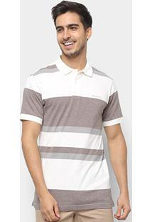 Camisa Polo Wrangler Estampa Listrada Masculina - Masculino-Branco+Cinza