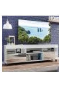 """Rack Tv 65"""" Com Espelho, Rodízios E 2 Portas Paris Multimóveis Branco"""