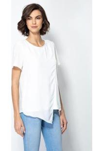 Blusa Enna Sobreposição Feminina - Feminino-Branco