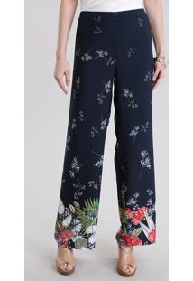 Calça Pantalona Estampada Floral Azul Marinho