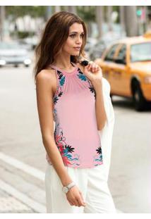 Blusa Floral Sem Mangas Rosa