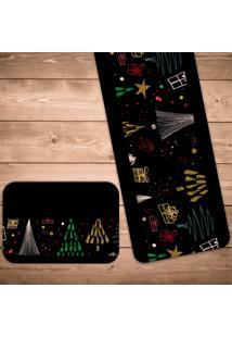 Jogo Americano Com Caminho De Mesa Pinheiro Geométrico Kit Com 2 Pçs + 2 Trilhos