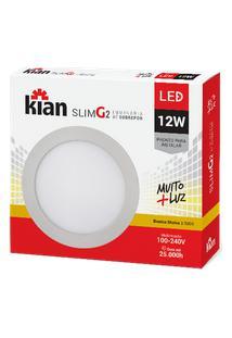 Luminária De Sobrepor Kian Redondo Led Slim G2 G2 Alt: 2,8Cm Comp.:16,8Cm Larg: 16,8Cm 12W 3000K Amarela.