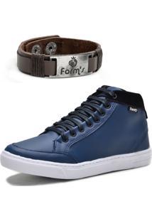 Tênis Cano Alto Casual Com Bracelete Form'S Azul Marinho