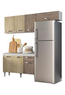 Cozinha Modulada 3 Módulos Composição 3 Branco/Carvalho/Castanho - Lum