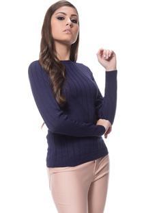 Blusa Logan Tricot Textura Modal Azul Marinho