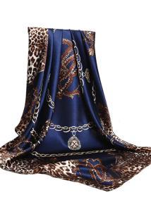 Lenço De Seda Artestore Estampado Grande Echarpe Xale Animal Print Azul