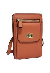 Bolsa Pequena Carteira Porta Celular Documento Transversal Fanlice Shoulder Bag De Lado Laranja