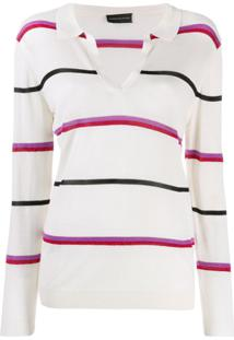 Cashmere In Love Camisa Polo Listrada - Neutro
