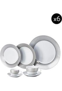 Aparelho De Jantar De Porcelana- Branco & Cinza- 42Pwolff