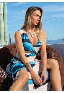 Vestido Abstrato Azul Transpassado Com Fenda