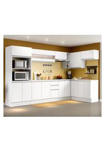 Cozinha Completa 100% Mdf Madesa Smart Modulada De Canto Branco