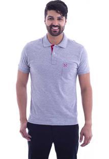 ... Camisa Polo Live Lifestyle Com Bolso Cinza Claro 405-04 - G3 89390e77874d1