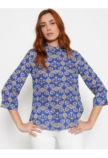 b35469462d ... Camisa Em Seda Arabescos - Azul   Off Whiteversace Collection