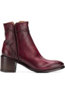Alberto Fasciani Ankle Boot 'Windy' De Couro - Vermelho