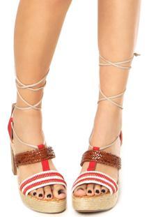 Sandália Dakota Gladiadora Salto Grosso Vermelha