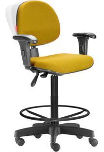 Cadeira Caixa Alta Ergonômica Nr17 Crepe Amarelo Escuro