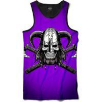 f1721f871 Camiseta Insane 10 Regata Caveira Viking Com Machados Sublimada Preto Roxo