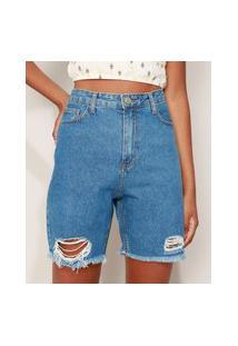 Bermuda Jeans Feminina Cintura Alta Desfiada Azul Médio