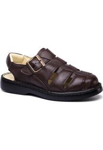 Sandália Masculina 308 Em Couro Floater Doctor Shoes - Masculino-Café