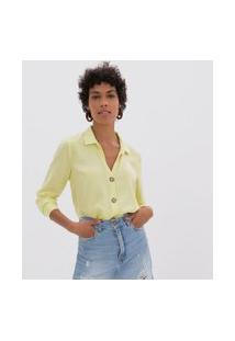 Camisa Com Botões Manga Longa   Marfinno   Verde   P