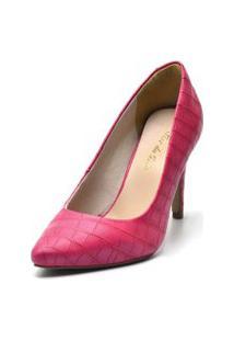 Sapato Scarpin Salto Alto Fino Em Croco Pink