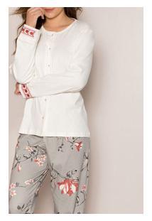 Pijama Longo Aberto Bordado Floral Pzama (100006) 100% Algodão