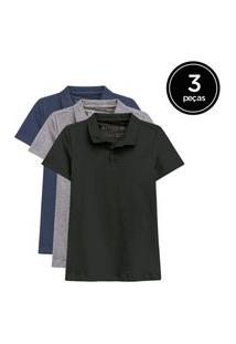 Kit De 3 Camisas Polo Femininas De Várias Cores Preto