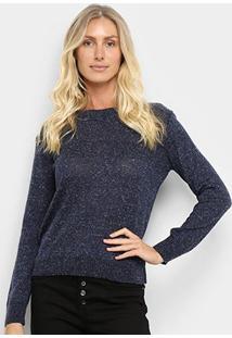 Suéter Tricot Fast Glam Feminino - Feminino-Marinho