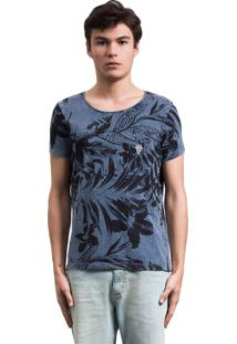 Camiseta Floresta Salt35G Dupla Face Azul