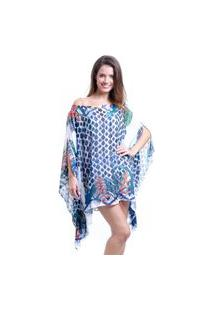 Kaftan 101 Resort Wear Vestido Crepe Plus Size Estampado Floral Grafismo Azul