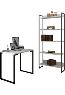 Conjunto Escritório Mesa Escrivaninha 90Cm E Estante 5 Prateleiras Est