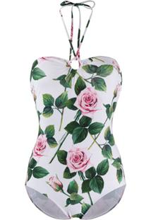 Dolce & Gabbana Tropical Rose Print Swimsuit - Branco