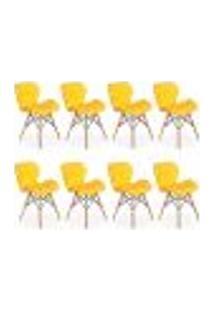 Kit 08 Cadeiras Charles Eames Eiffel Slim Wood Estofada - Amarela