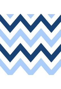 Papel De Parede Adesivo Chevron Azul E Branco (0,58M X 2,50M)