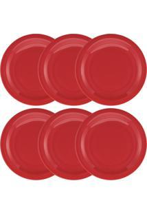 Conjunto De 6 Pratos Rasos 26Cm Floreal Red - Multicolorido - Dafiti