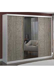 Guarda-Roupa Casal 3 Portas C 1 Espelho 100% Mdf 7318E1 Branco/Demolição - Foscarini